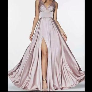 Cinderella divine mauve Gown A Line Dress v neck